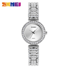 купить SKMEI Rhinestone 1224 Quartz Watches Ladies Luxury Stainless Steel Women Wristwatches Trendy Watch Rhinestone Horloges Vrouwen дешево