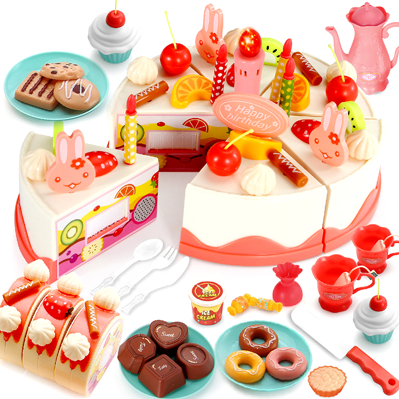 DIY Pretend Play Fruit Cutting Birthday Cake with Light&Music Blow Candle Kitchen Food Toys Cocina De Juguete Toy for Children birthday cake