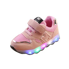 New spring LED lights luminous children's sports shoes casual shoes men and women with light baby shoes Zapato #YL25(China)