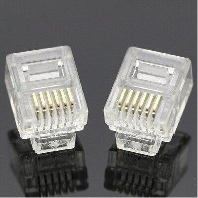 送料無料50ピース/ロット耐久性rj11 rj-11 6p6c 6p4cモジュラープラグ6p2c電話電話コネクタとncクリスタルヘッド