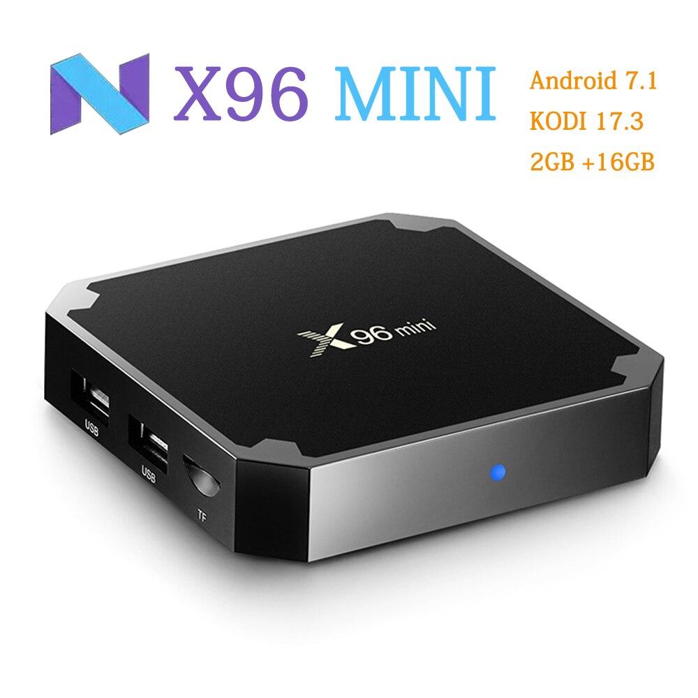 X96 Mini Android 7.1 TV BOX 2 GB/16 GB Amlogic S905W Quad Core 2.4 GHz WiFi Smart Media giocatore IPTV Box 1 GB/8 GB X96mini