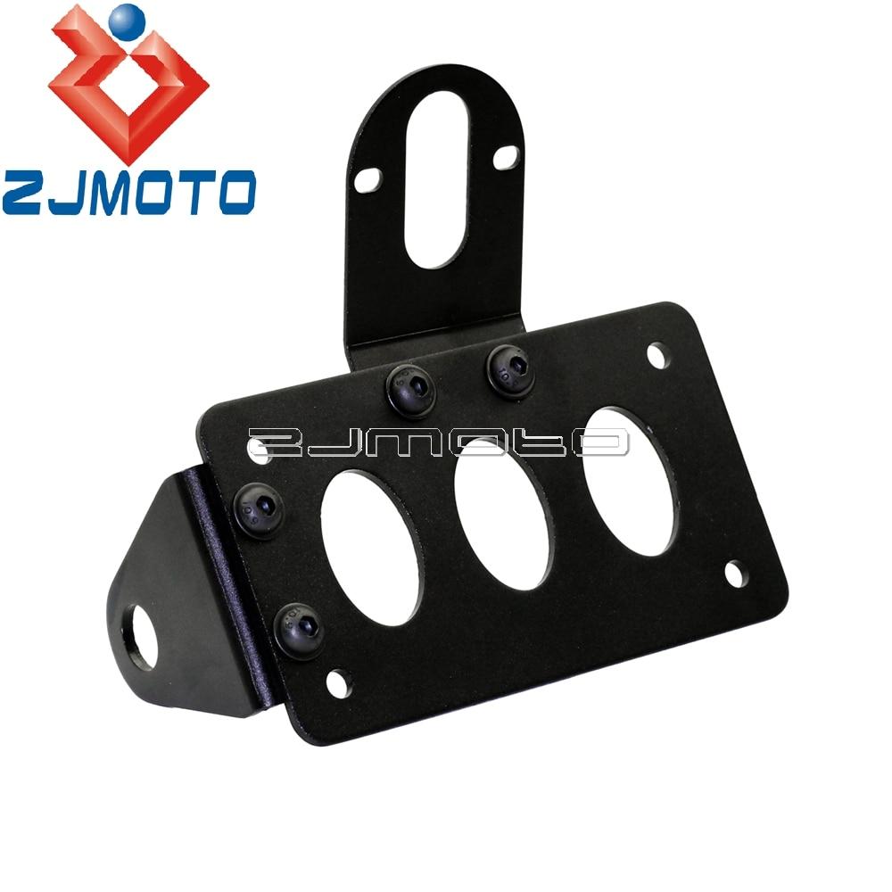 3/4 Axles Fine Craftsmanship Zjmoto Black Side Mount Motorcycle Brake Tail Light License Plate Bracket For Chopper Metric Bike Models With 20mmm