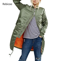 Winter long jackets and coats 2018 spring female coat casual military olive green bomber jacket women basic jackets plus size