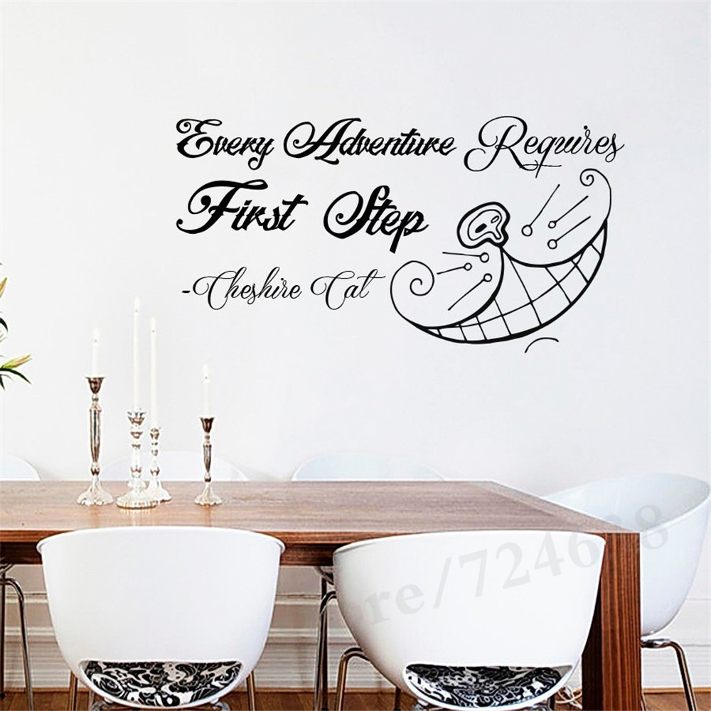 Special Beautiful Every Adventure Quotes With Teeth Art Wall Sticker Alice in Wonderland Cute Lovely Wall Murals Decal
