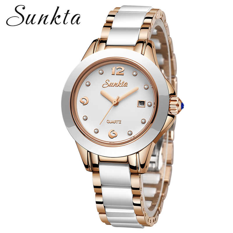 SUNKTA 2019 New Rose Gold Watch Women Quartz Watches Ladies Top Brand Luxury Female Wrist Watch Girl Clock Relogio Feminino+Box