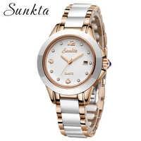 SUNKTA 2019 New Rose Gold Watch Women Quartz Watches Ladies Top Brand Luxury Female Wrist Watch Girl Clock Relogio Feminino+Box