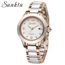 SUNKTA reloj de oro rosa para mujer, de cuarzo, de pulsera, femenino, con caja, 2019