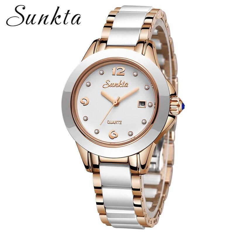 Sunkta 2019 nova rosa ouro relógio de quartzo feminino relógios senhoras marca superior luxo feminino relógio de pulso menina relogio feminino + caixa