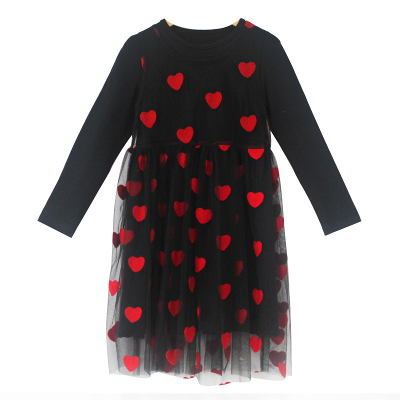 New Lace Princess Dress 2018 Girls Dresses Spring Autumn Long Sleeve Cute Heart Type Petals Net Yarn Girls Clothes For 4 14Yrs in Dresses from Mother Kids