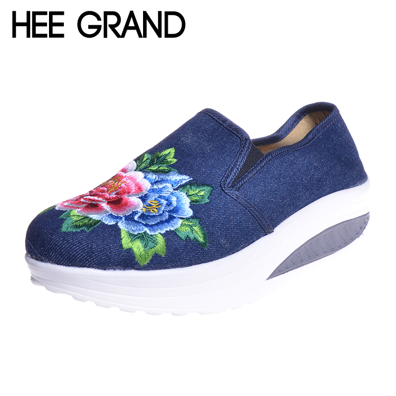 HEE GRAND Embroidery Flower Women Swing Shoes 2017 Slip-on Hemp Handmade Canvas Shoes National Style Cloth Flats XWD5132 vintage embroidery women flats chinese floral canvas embroidered shoes national old beijing cloth single dance soft flats