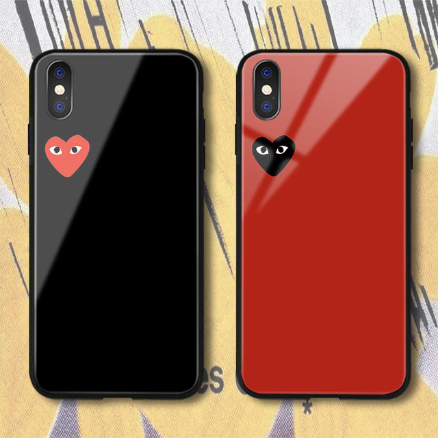 newest collection 8f041 30184 US $2.87 20% OFF|Japan Popular CDG PLAY Comme des Garcons Case for iPhone X  XS Max XR 8 7 6 6s Plus Fashion Design Love Heart Glass Phone Cover-in ...