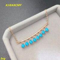 Kjjeaxcmy бутик ювелирных изделий 925 Серебро Природный Красота Бирюзовый Для женщин Цепочки и ожерелья Высокий фарфор синий