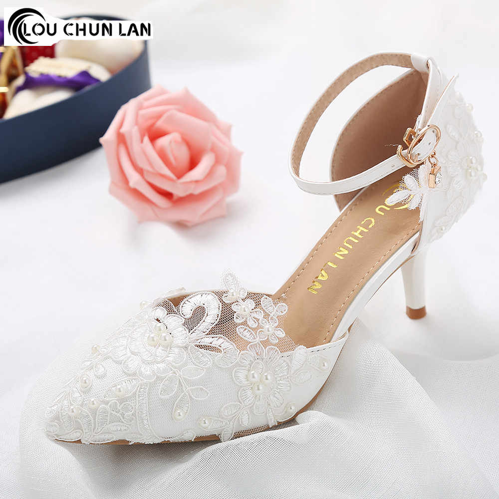 Shoes Women Sandals New Arrival High Quality White wedding shoes female  flower lace pearl shoes bridal 61282bf8541d