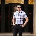 Горячая Продажа мужская Летняя Мода Контрастность Цвет Хлопок Плед Короткий Рукав Рубашки Поло
