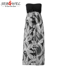 SEBOWEL Sexy Women Summer Baggy Loose Slit Feather Print Slit Strapless Bardot Maxi Beach Dress Black Push Up Beach Cover Up XXL