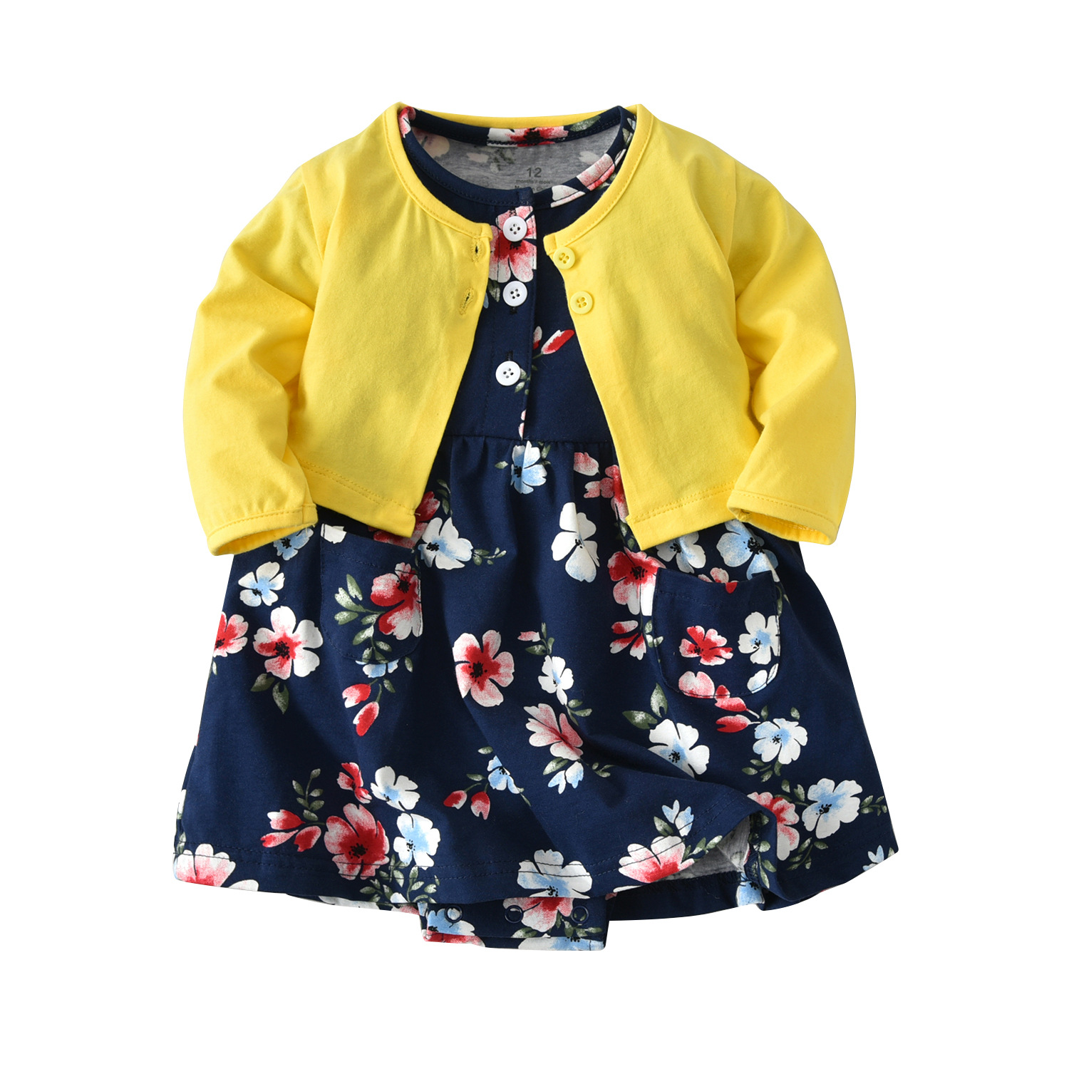 New Hot Sale 2PCS Baby Girls Clothes Cotton Long-sleeved Yellow Jacket + Foral Dress Girls Spring and Autumn