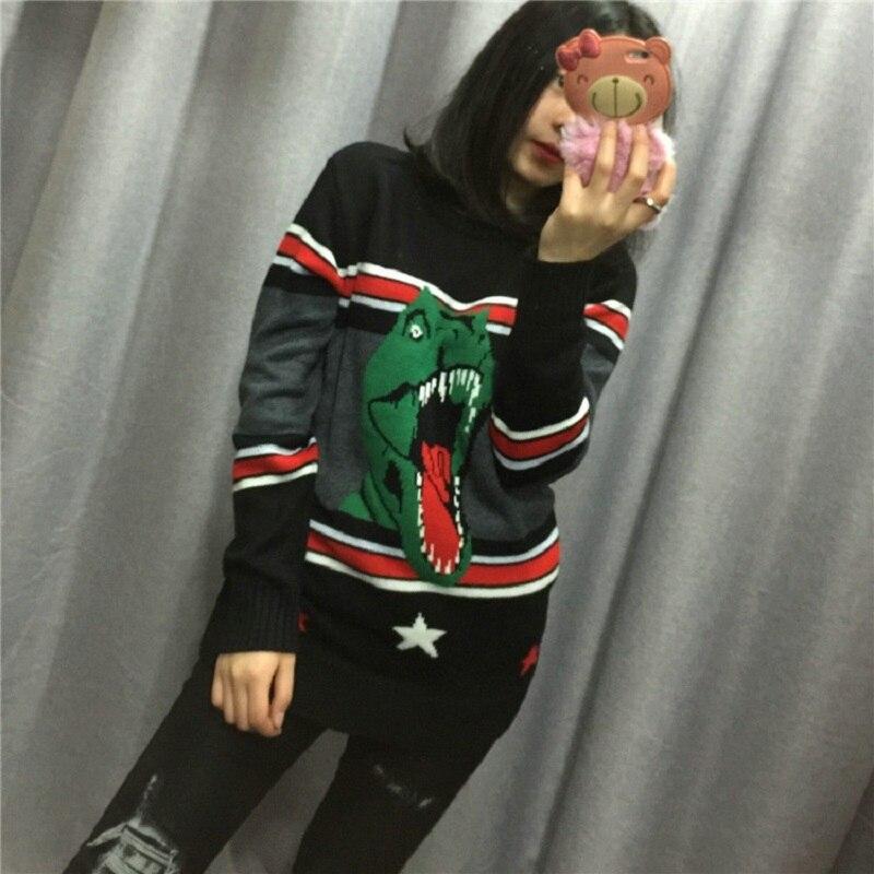 Pull Rayé Manches Femmes Noir Vêtements Surdimensionné Dinosaure Piste Tricot Jumper Lâche Et Black 2018 Longues Tricoté Chandails Hiver YW1Cq