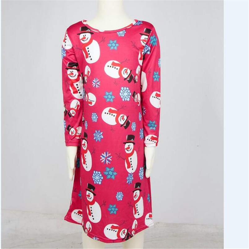 6af3f7fcbabf TC* New Cute Kids Girls Baby Xmas Long Sleeve Snowman Christmas Print Swing  Dress Child Xmas Party Clothing Red Attention **-in Dresses from Mother &  Kids ...