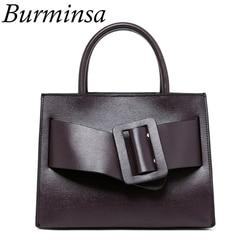 Burminsa Wide Belt Genuine Leather Handbags Women Designer Shoulder Bags Suede Messenger Bags Luxury High Quality Female Purse