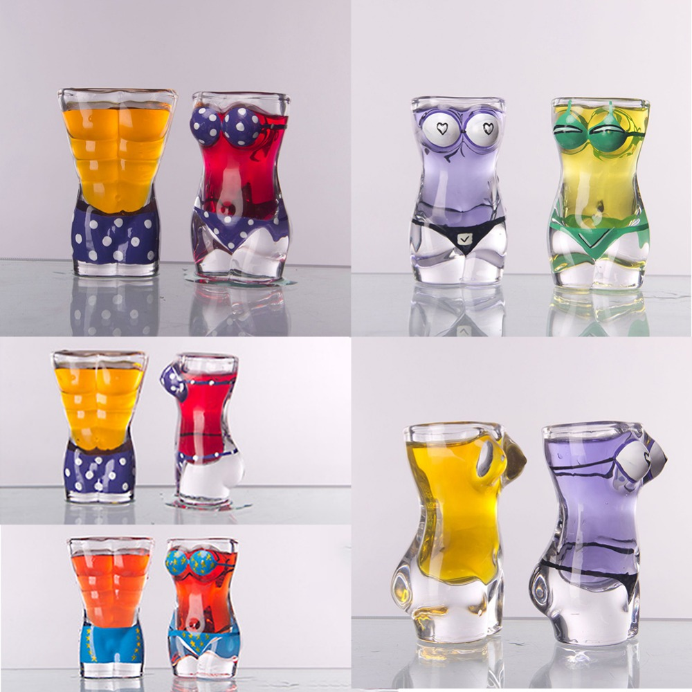 New Sexy Lady Men Durable Double Wall Whiskey Glasses Wine Shot Glass Big Chest Beer Cup 30ml /700ml Bar Nightclub Wine Glass 1