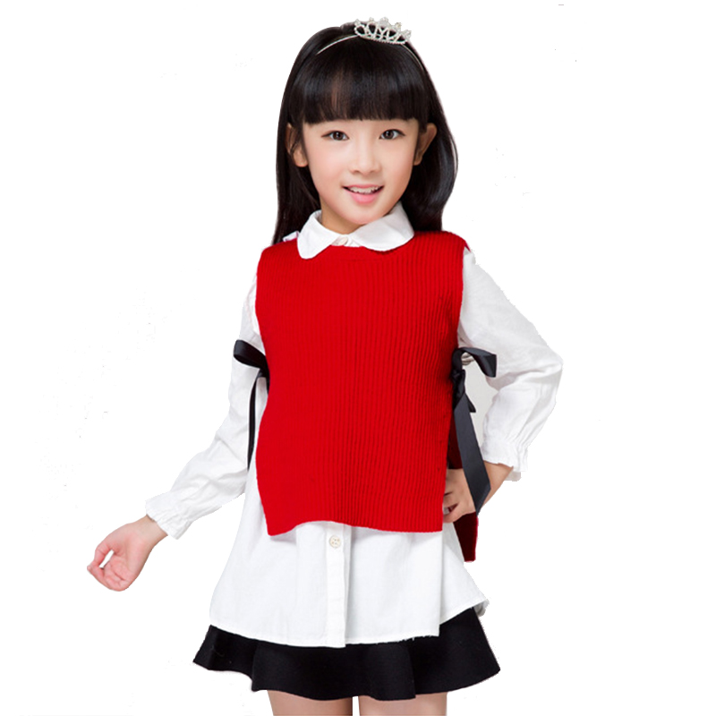 Casual Sweater For Girls Solid Color Split Baby Girl
