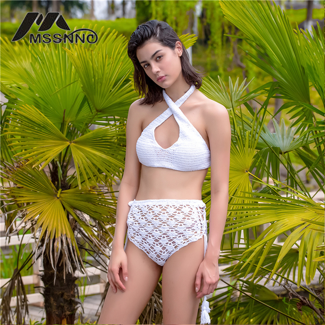 77592452dc3 Hand Crochet Bikini 2017 Retro High Waist Bikini Set Halter Fringe Women'S Swimsuit  Bath Bathing Suit High Neck Swimwear Women