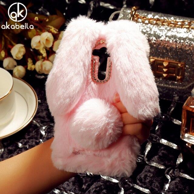 AKABEILA Fluffy Rabbit Fur Silicon Phone Case For Asus Zenfone 2 Laser ZE550KL Z00LD Zenfone2 Laser ZE551KL Diamond Cover Shell
