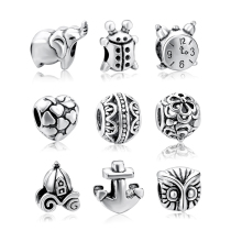 Wholesale Elephant Beads 925 Unique Silver Charm Crystal Beads Fit Original Pandora Bracelet Authentic Jewelry Making SPD160014