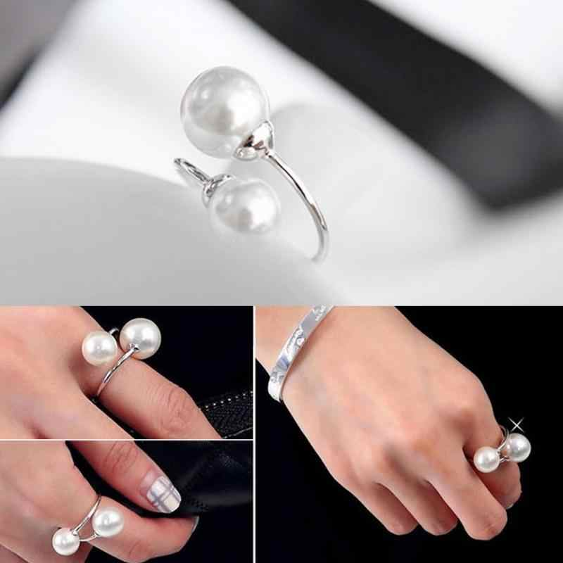 Women Girls Simulated Pearl Elegant Copper Finger Rings  Fabala Adjustable Lightweight
