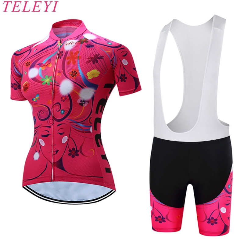 TELEYI Kristine Quick-Dry Summer Women Bike Cycling Clothing Breathable Bicycle Clothes Ropa Ciclismo UV Pink Cycling Jersey