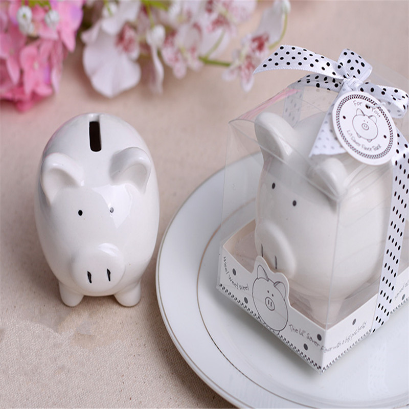 Christening Baptism Gifts Ceramic Mini Piggy Bank Coin Box with Polka Dot Bow Souvenirs Baby Shower