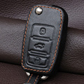 Натуральная Кожа Ключа Автомобиля Чехол Обложка Держатель Набор Для Vw Polo Golf 4 5 6 Mk6 Passat B5 B6 Jetta Tiguan Бора Fob Флип Удаленного Брелок