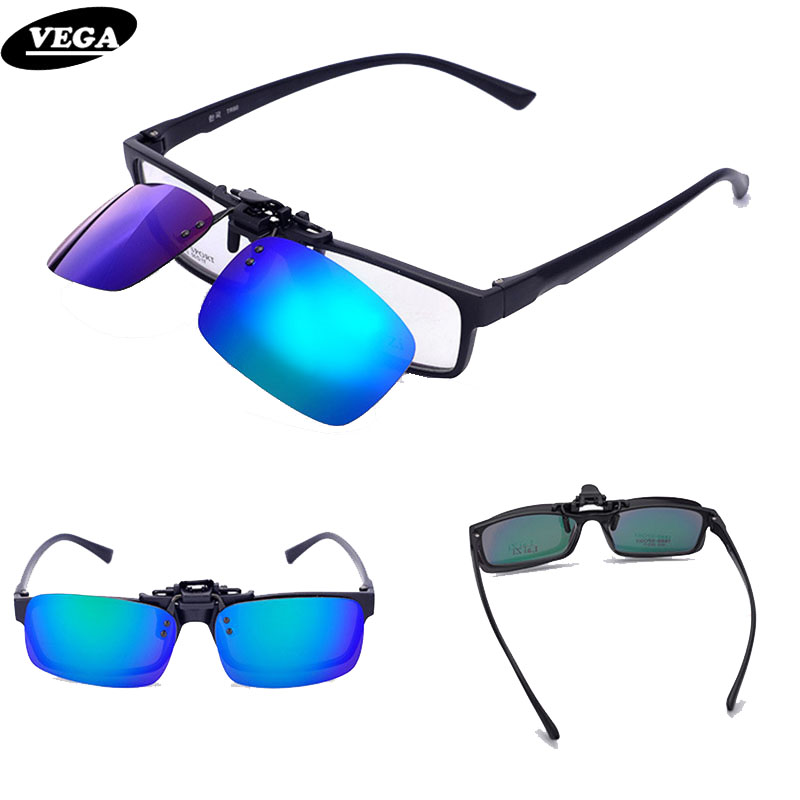 VEGA Spring Polarized Clip On Sunglasses Para Gafas graduadas Sobre Gafas de sol Flip Up Glasses Clip On Shades 110