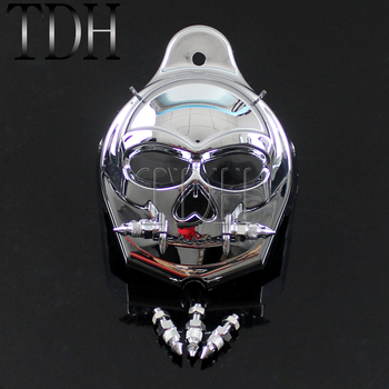 Chrome Motorcycle Skull Zombie Horn Cover For Harley Davidson 1992-2017 Flasher