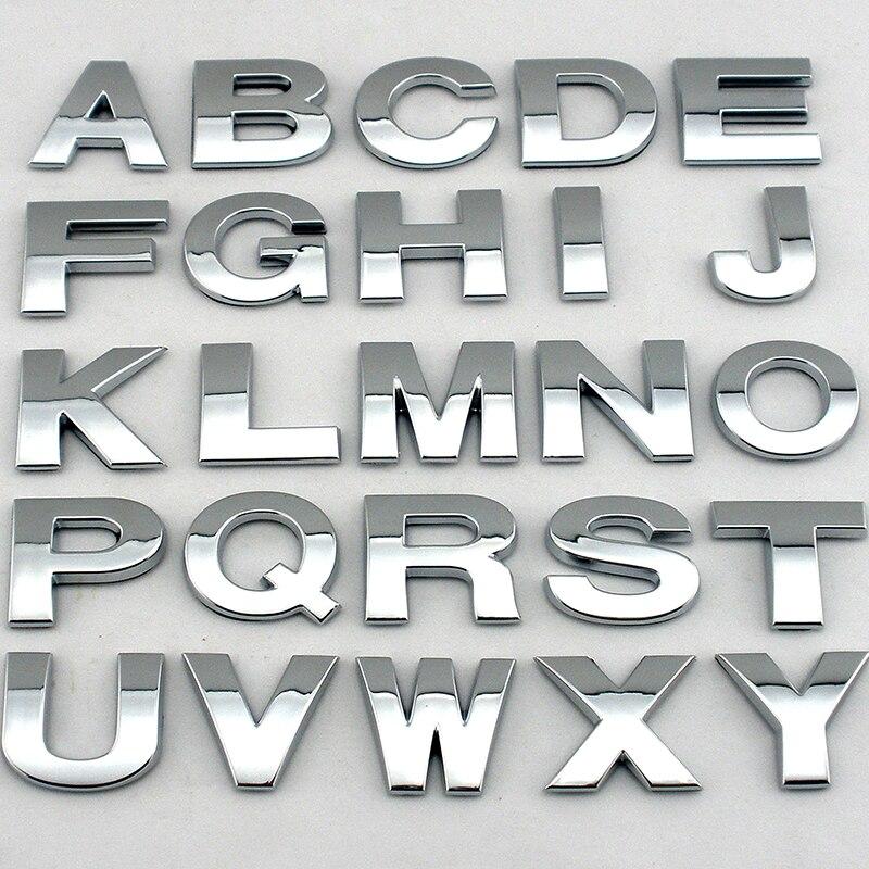 Car Sign Emblem Logo Brand Name 25 Mm 3d Chrome Plastic Alphabet