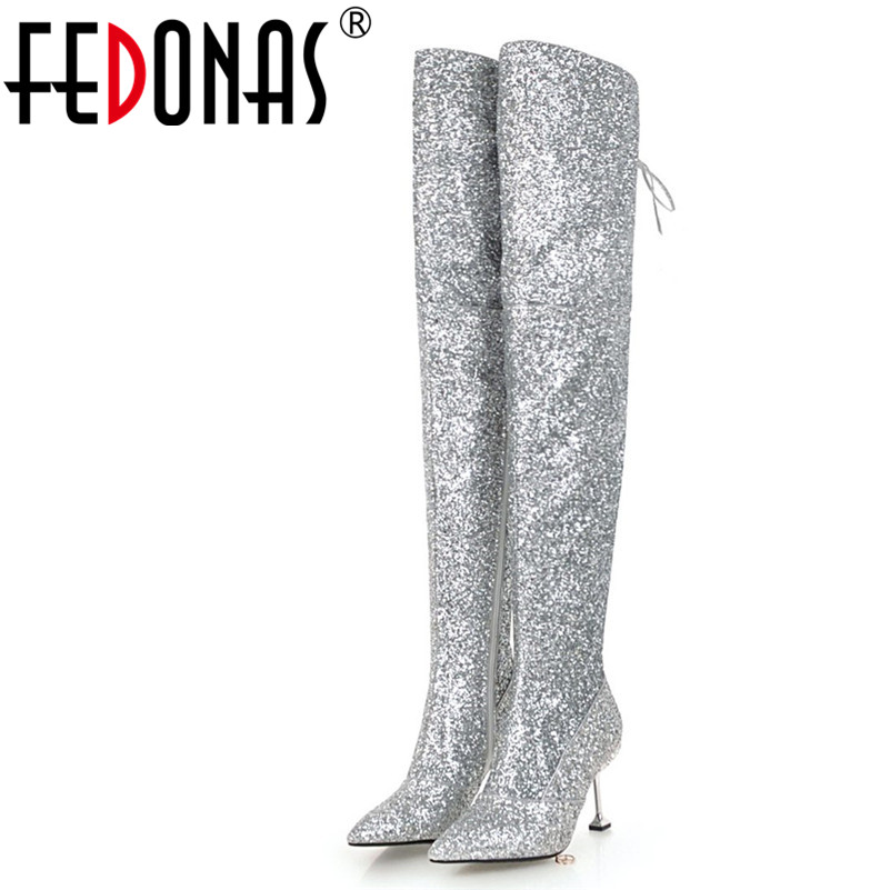 FEDONAS Over The Knee High Boots For Women High Heels Warm Long Dancing Party Prom Shoes Ladies Glitters Night Club Pumps