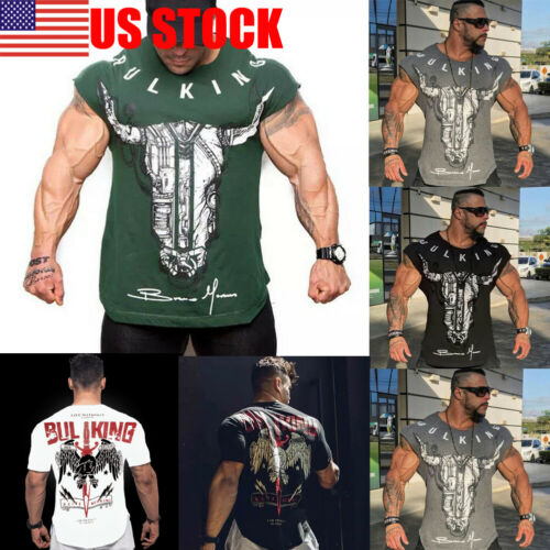 Men Gym Causal Tops T-Shirt Short Sleeve Fashion Animal Print Bodybuilding O-Neck Summer Fitness TShirt Cotton Soft Sportwear
