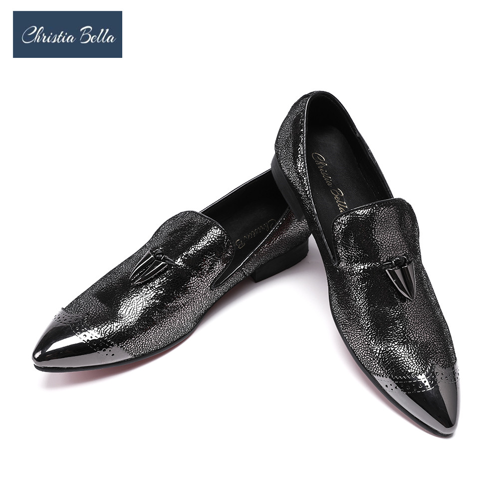 Christia Bella Bling Bling Boat Shoes Men Plus Size 38-47 Oxford Shoes Casual Loafers Shoe Sapatos Masculino Men's Flats Black leather casual shoes zapatillas hombre casual sapatos business shoes oxford flats hand made man shoe free shipping sv comfort
