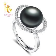 [Нимфа] черный жемчуг кольцо Реальные пресноводного жемчуга Jewlery 10-11 мм Большой Регулируемый Кольца тонкой брендов Свадебная вечеринка Подарочная коробка [J210]
