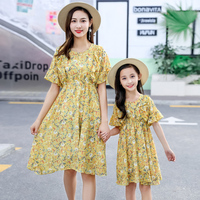 Summer Matching Mom Daughter Print Floral Chiffon Dress Mother And Baby Girls Beach Cute Outfits Baby School Dance Dress