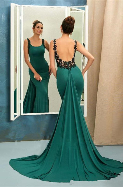 379a8d732 Green Mermaid Dresses Evening Wear Black Applique Blackless Sexy Prom Gown  Long Vestidos De Fiesta Largos Elegantes De Gala 2017
