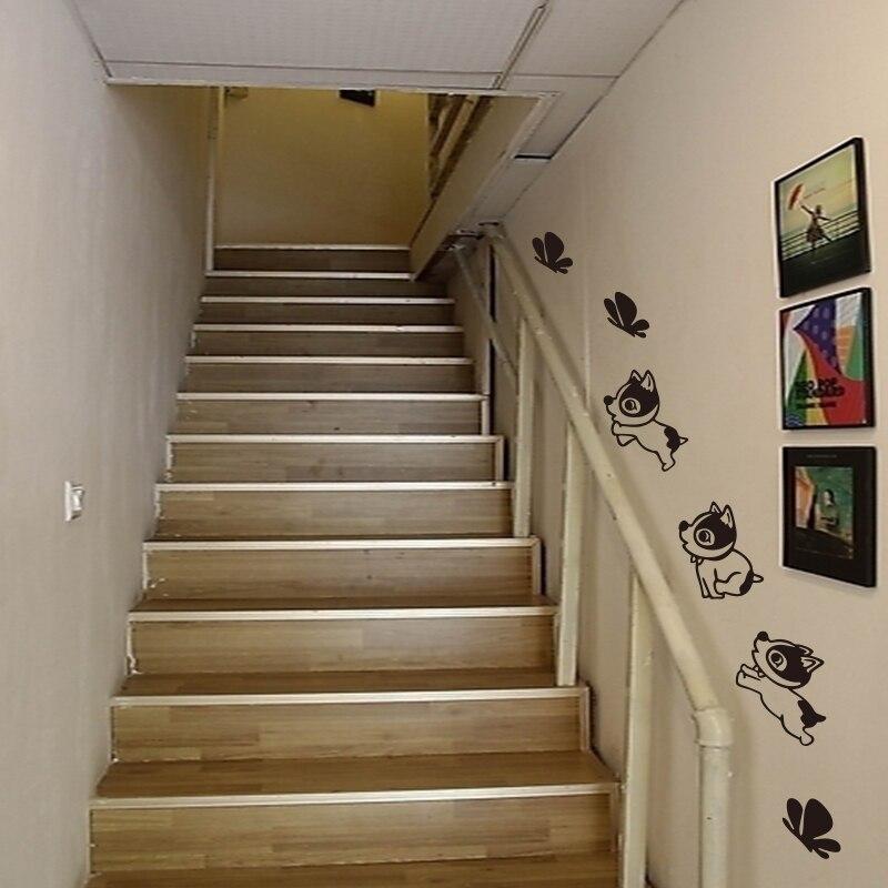 € 5.93 |Bébé chien chiot papillon vinyle mur escalier décoration murale  sticker mural artiste décoration de la maison décoration DW0723-in Stickers  ...