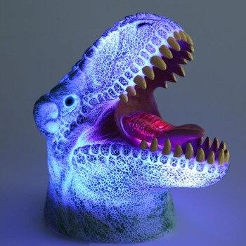 Lueur créative colorée 3D grande bouche atmosphère dinosaure veilleuses pour enfants Bar décor lampe noël nouvel an enfants jouet lumière