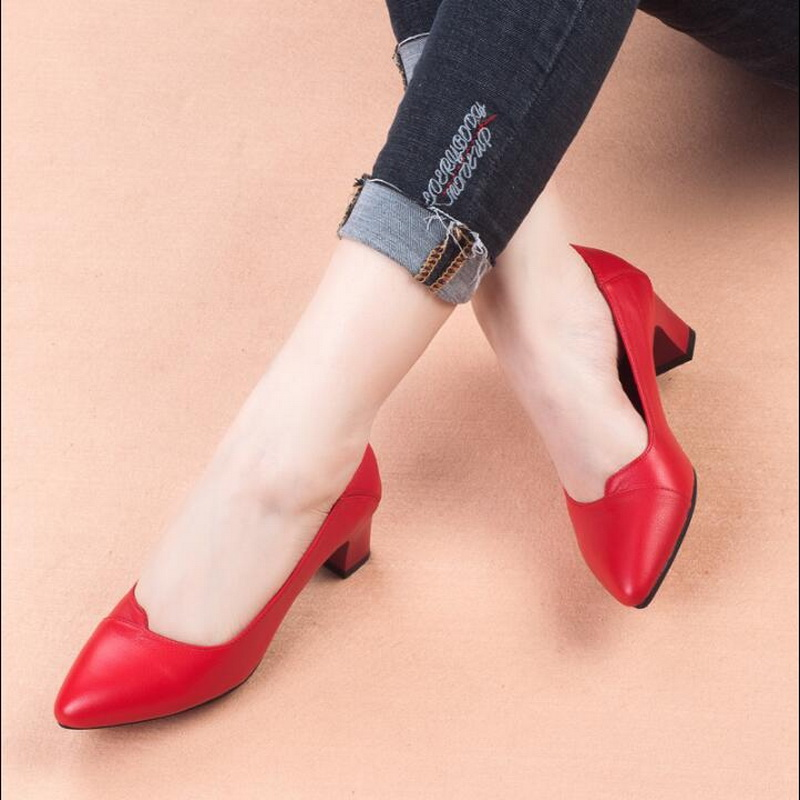 Fashion women Pumps Shoes Women Genuine Leather Shallow Slip On Pointed Toe High heels Wedding Party