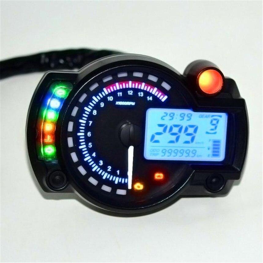 2017 New Hot Motor accessoreis Backlight LCD Digital Motorcycle Speedometer Odometer Motor Bike Tachometer #5.12