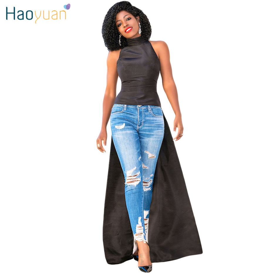 HAOYUAN Women Off Shoulder Summer Dress 2018 Vintage Ruffle Blue ...
