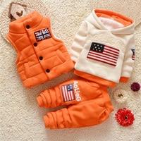 Baby velvet clothing 3pcs set kids fashion baby girl tracksuit hooded tops+waistcoat+pants flag print winter sportwear outdoors