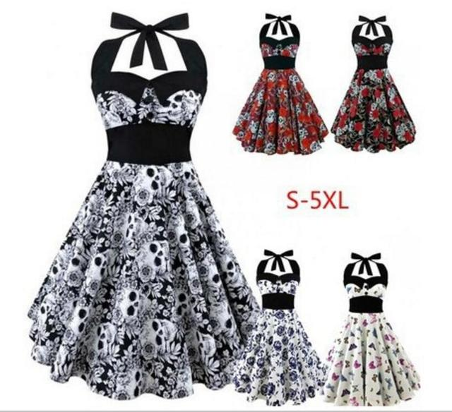 505c71fd1b42d US $15.38 19% OFF|Women Summer Dress 2017 plus size clothing Audrey hepburn  Floral robe Retro Swing Casual 50s Vintage Rockabilly Dresses dress-in ...