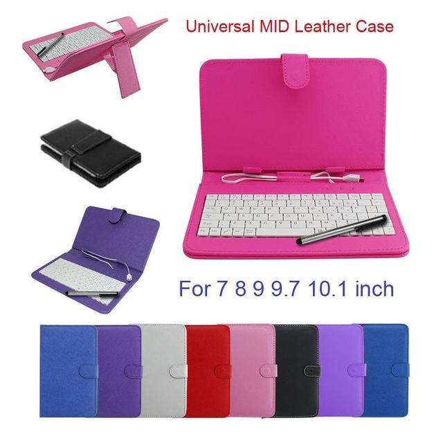 "9"" Inch PU Leather Stand Tablet Keyboard Case Cover Stand With Micro USB"