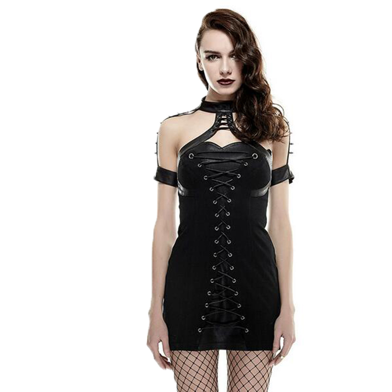 Sexy Leather Punk Dress For Women Gothic Pu Black Rivet Halter Tight Dresses Summer Off Shoulder Empire Clothing Q-285